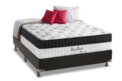 Conjunto Box: Colchão Anjos Molas Pocket Black Forest + Cama Box Courino Black