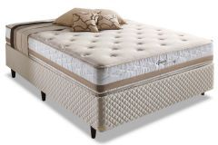 Conjunto Cama Box - Colchão Herval de Molas Maxspring Spain Pillow Top + Cama Box Universal Couríno White