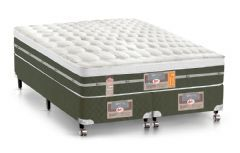 Conjunto Cama Box - Colchão Castor de Molas Bonnel Silver Star Air + Cama Box Universal Courino Bianco