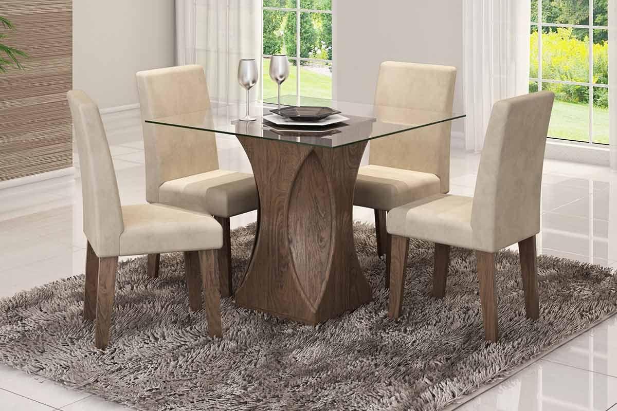 Sala de Jantar Mesa Cimol Andreia 100cm c/ 4 Cadeiras Milena