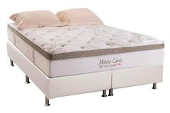 Conjunto Cama Box - Colchão Herval de Molas Pocket Monte Carlo Visco HR + Cama Box Universal Courino Bianco