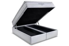 Conjunto Box Baú: Colchão Ortobom Molas Pocket Freedom + Cama Box Baú Courino Bianco -
