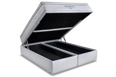 Conjunto Box Baú: Colchão Ortobom Molas Pocket Freedom + Cama Box Baú Courino Bianco
