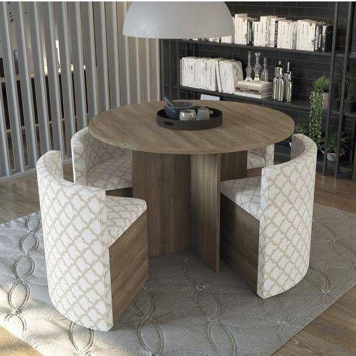 Conjunto Mesa de Jantar Kappesberg - Mesa Madeirado Nogal Nirá 108cm + 4 Cadeiras CAD108 Linho Bege Folha de Plátano