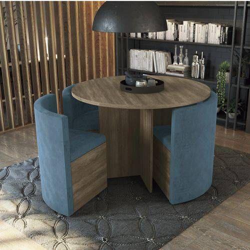 Conjunto Mesa de Jantar Kappesberg - Mesa Madeirado Nogal Nirá 108cm + 4 Cadeiras CAD108 Azul