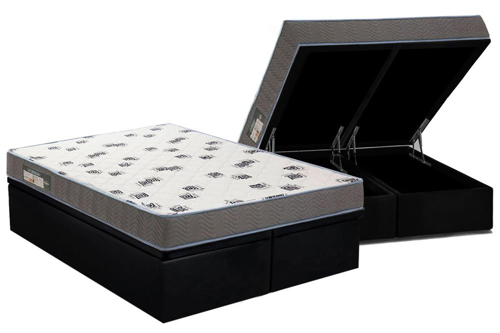 Conjunto Box: Colchão Ortobom Espuma D33 Light + Cama Box Baú Courino Black