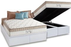 Conjunto Box: Colchão Anjos Molas Superlastic King Best + Cama Box Baú Courino Bianco