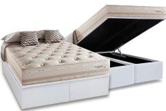 Conjunto Box: Colchão Herval Molas Maxspring Scotland + Cama Box Baú Courino White