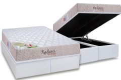 Conjunto Box: Colchão Orthocrin Molas Pocket Radiance Square Bege + Cama Box Baú Courino White