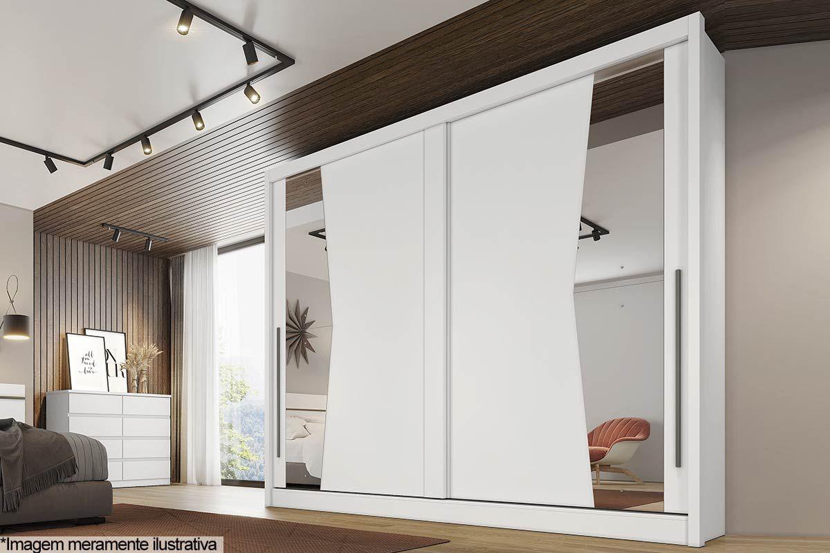 Guarda Roupa Novo Horizonte Geom 2 Portas e 6 Gavetas c/Espelho