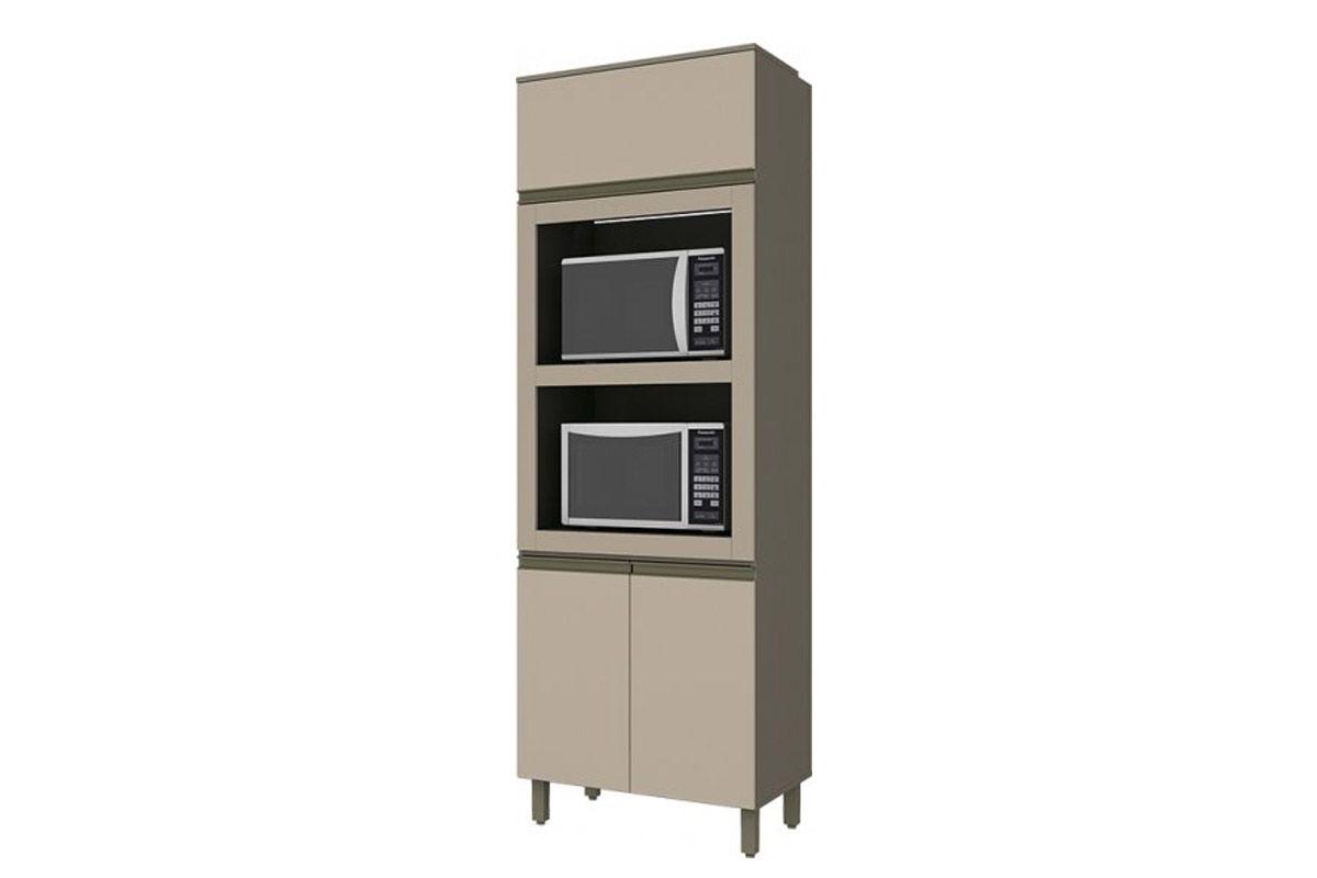 Torre Quente Armário de Cozinha Henn Connect c/ 2 Fornos 71,5cm-Cor Duna c/ Cristal