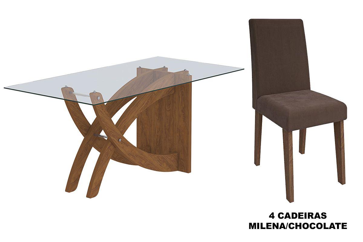 Sala de Jantar Cimol Mesa Flávia 1200x800 Com 4 Cadeiras Milena-Cor Marrocos- Assento/Encosto Chocolate
