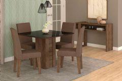 Sala de Jantar Cimol Mesa Rafaela 950x950 Com 4 Cadeiras Milena