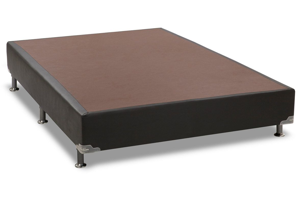 Cama Box Base Ortobom Courino Preto 30