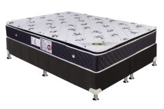 Conjunto Cama Box - Colchão Luckspuma de Molas Bonnel Aspen Pilow Top + Cama Box Universal Nobuck Black