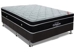 Conjunto Cama Box - Colchão Ortobom Pocket Elegant Euro Pillow + Cama Box Nobuck Nero Black