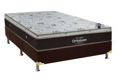 Conjunto Box: Colchão Molas Pocket Sleep King Látex Ortobom  + Cama Box Nobuck Rosolare Café
