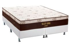 Conjunto Box: Colchão Molas Pocket Sleep King Látex Ortobom + Cama Box