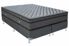Conjunto Cama Box - Colchão Ortobom de Molas Multilastic Orthotel Luxo Pillow Euro + Box Universal Nobuck Cinza