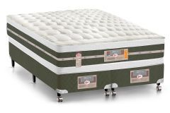 Conjunto Box - Colchão Castor Bonnel Silver Star Air Double Face + Cama Box Universal Courino White