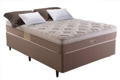 Conjunto Cama Box - Colchão Herval de Molas Maxspring Doss Pillow One Side + Cama Box Universal Nobuck Rosolare Café