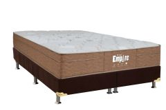 Conjunto Cama Box - Colchão Probel de Molas Bonnell Empire Pillow Euro + Cama Box Nobuck Rosolare Café