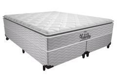 Conjunto Cama Box - Colchão Probel de Mola Pocket Velvety Soft Pillow Top + Cama Box Universal Nobuck Cinza