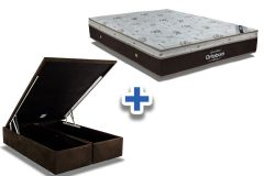 Conjunto Box Baú : Colchão Ortobom Molas SuperPocket Sleep King Látex + Cama Box Nobuck Rosolare Café