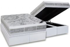 Conjunto Box Baú - Colchão Castor Molas Pocket Super luxo Látex Plush Double Face+ Cama Box Baú Courino Bianco