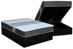 Conjunto Box Baú - Colchão Castor Molas Bonnel Class Slim Double Face + Cama Box Baú Nobuck Black