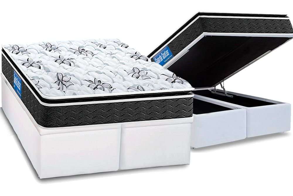 Conjunto Cama Box Baú - Colchão Probel de Espuma Guarda Costas Premium Hiper Firme Pillow Top + Cama Box Baú Courino Bianco