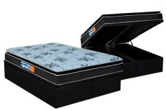 Conjunto Cama Box Baú - Colchão Probel de Espuma Guarda Costas Premium Multi Firme Pillow Top + Cama Box Baú Nobuck Nero Black