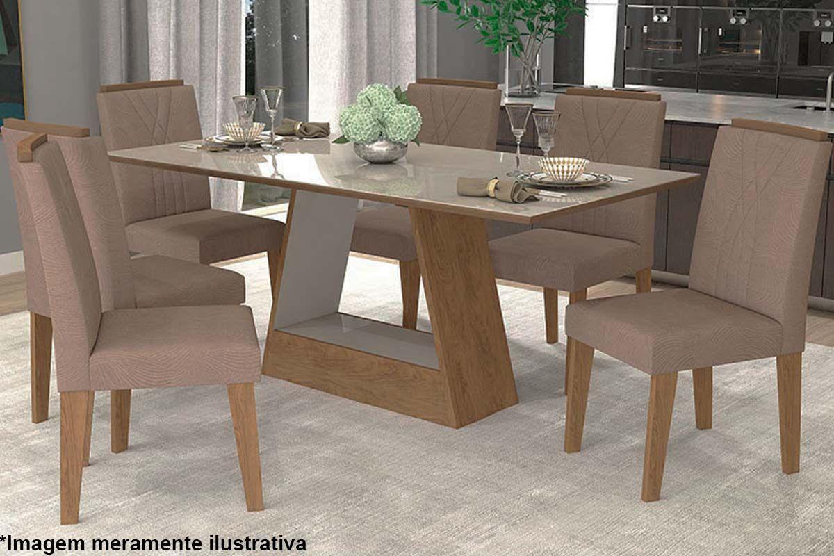 Sala de Jantar Cimol Mesa Alana 180x90 Com 6 Cadeiras Nicole-Cor Branco/Savana - Assento/Encosto Pluma