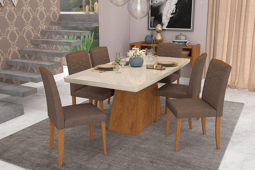 Sala de Jantar Helen 180x90 c/ 6 Cadeiras Vanessa-Cor Savana/Off White - Assento/Encosto Chocolate