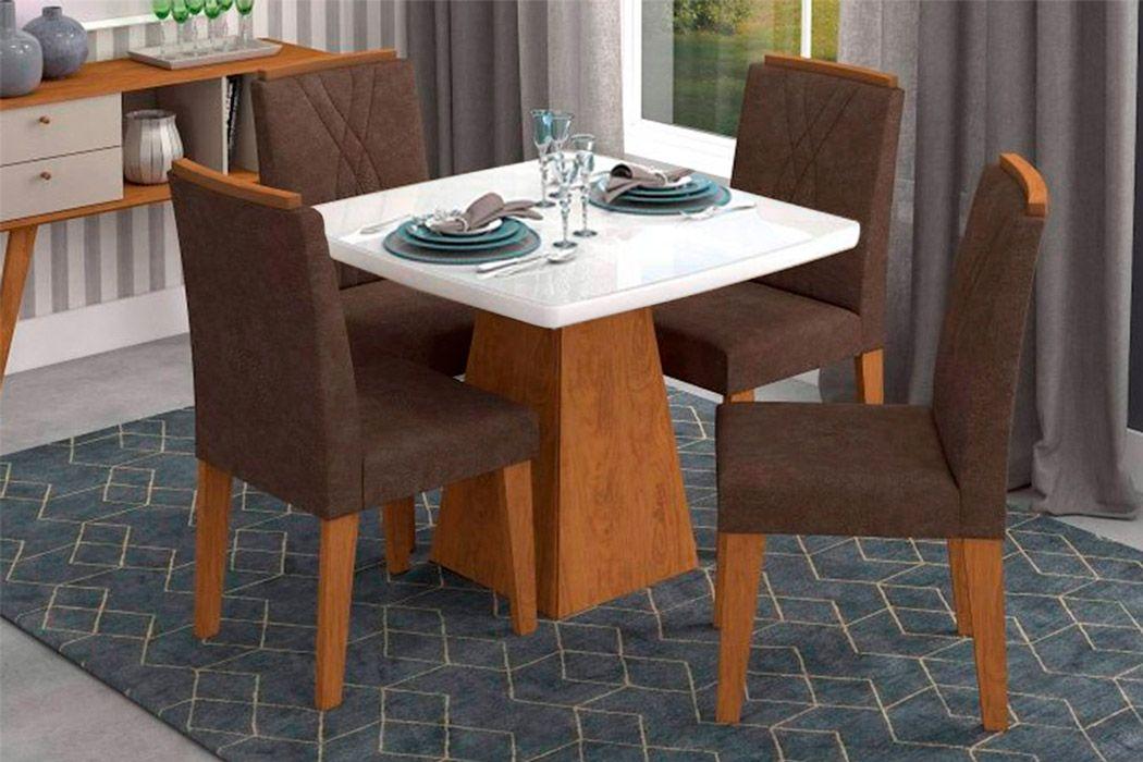 Sala de Jantar Helen 95x95 c/ 4 Cadeiras Nicole-Cor Savana/Branco - Assento/Encosto Cacau