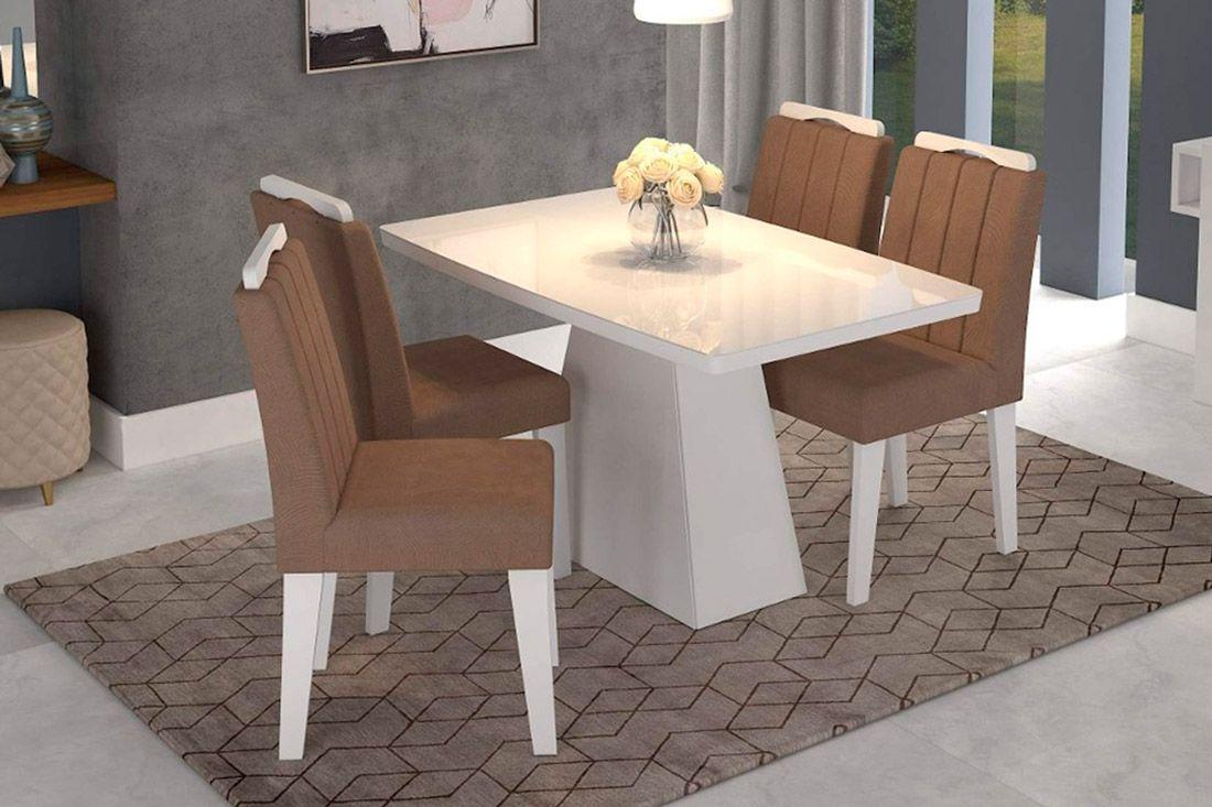 Sala de Jantar Helen 130x80 c/ 4 Cadeiras Elisa-Cor Branco/Branco - Assento/Encosto Pluma