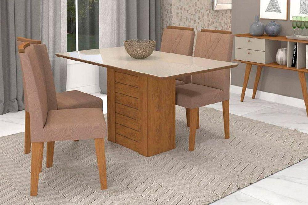 Sala de Jantar Rafaela 130x80 c/ 4 Cadeiras Nicole