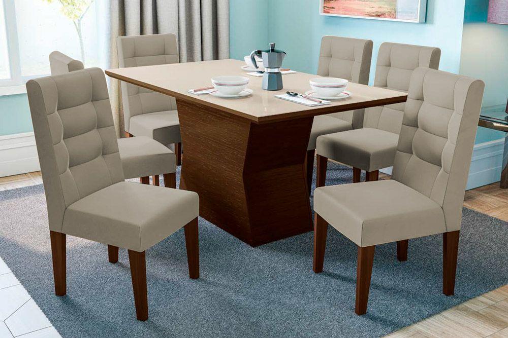 Conjunto Sala de Jantar Kappesberg Estar - Base Madeirado Tília 10cm + 6 Cadeiras 2CAD111 Marrom