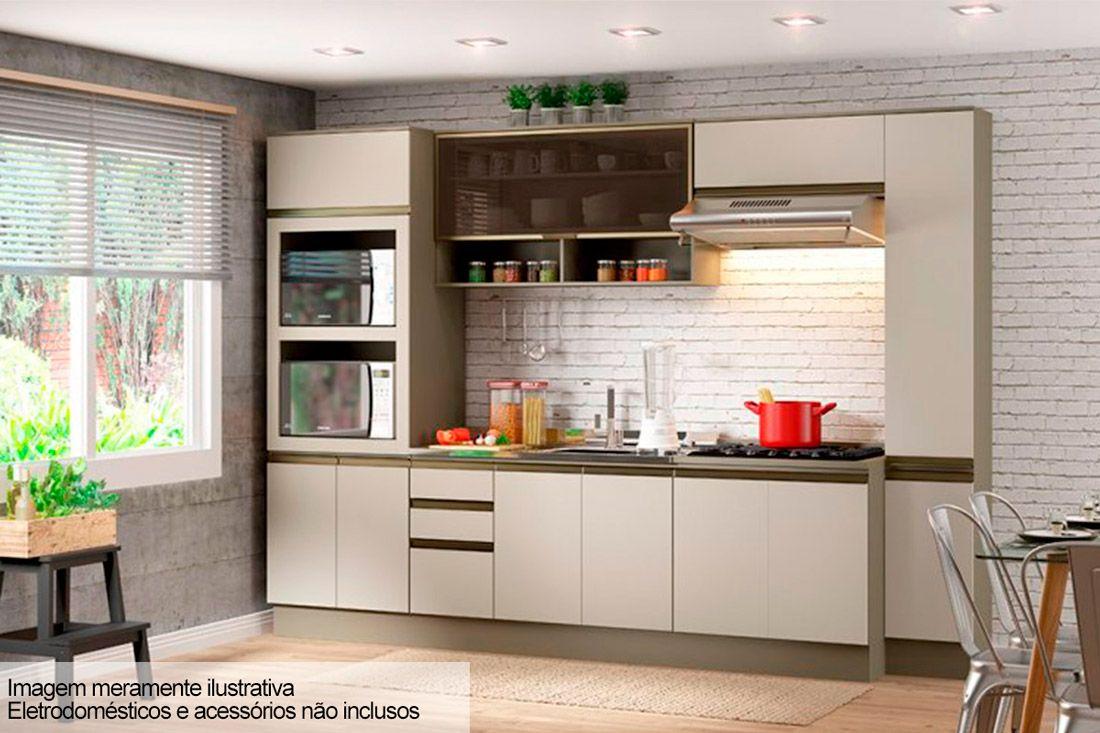 Cozinha Completa Henn Connect c/ 7 Peças (Torre Quente + 2 Aéreos + 2 Gabinetes c/Tampo) CZ01