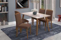 Conjunto Sala de Jantar Cimol Mesa Adele 130cm c/4 Cadeiras Vanessa
