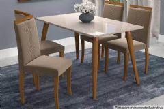 Conjunto Sala de Jantar Cimol Mesa Adele 130cm c/4 Cadeiras Laura
