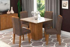 Conjunto Sala de Jantar Cimol Mesa Ana 95cm c/4 Cadeiras Milena