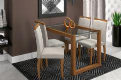 Sala de Jantar Mesa Cimol Anita 120cm c/ 4 Cadeiras Laura