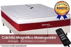 Colchão Magnético Infravermelho Longo c/  Massageador Memory Espuma Ortopédica EuroPilow Branco/Bordo