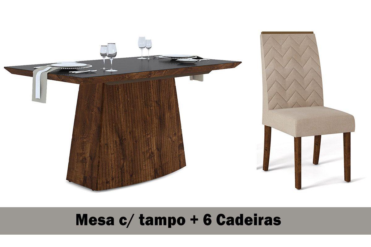 Sala de Jantar DJ Móveis Mesa Sorela+6 Cadeiras Aurea Malbec