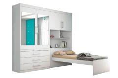 Guarda Roupa Solteiro Europa Lyon c/ Espelho + Cama 4 Portas e 3 Gavetas
