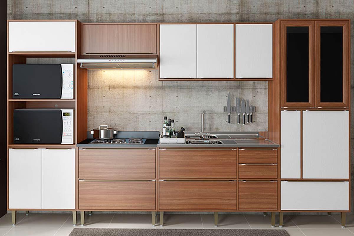 Cozinha Completa Multimóveis Cabrália 5450 6 Peças (2 Paneleiros+2 Aéreos+2 Balcões)