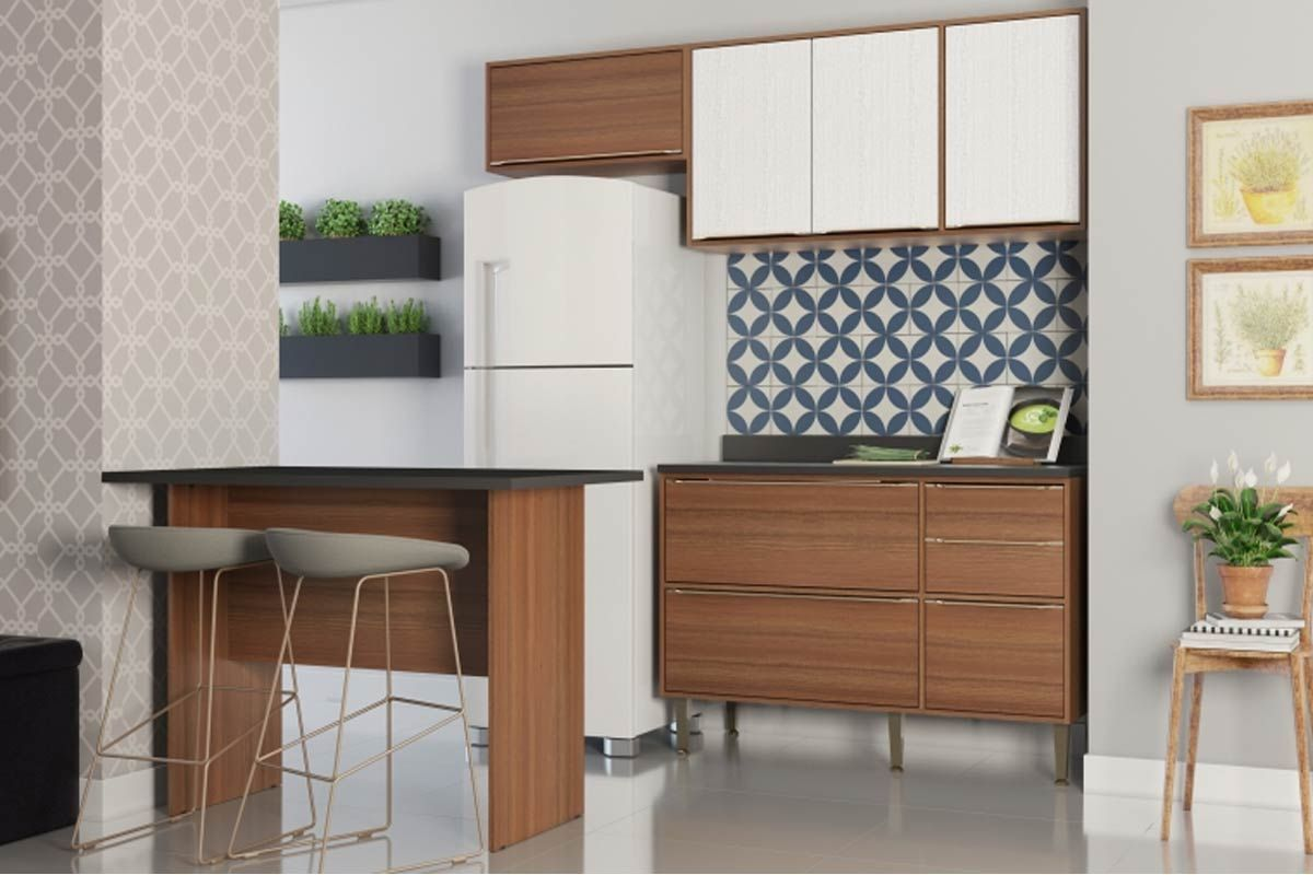 Cozinha Completa Multimóveis Cabrália 5460 4 Peças (1 Ilha+2 Aéreos+1 Balcão)