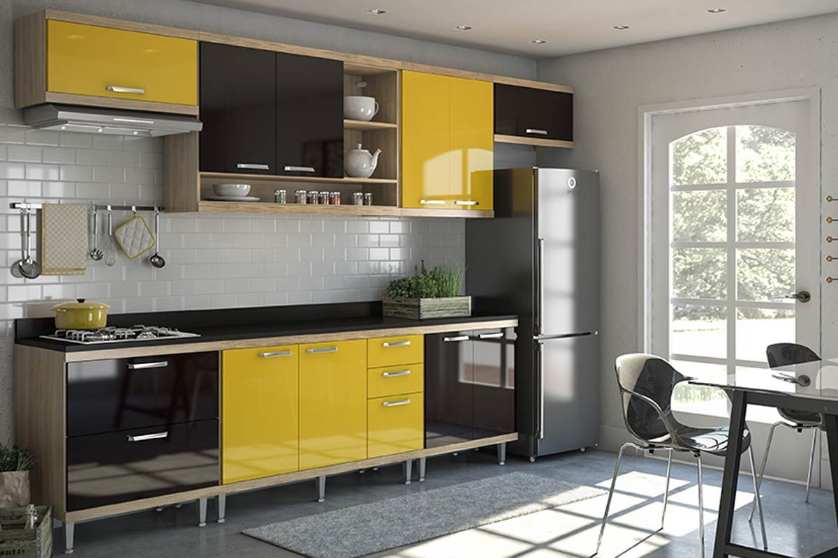 Cozinha Completa Multimóveis Sicília 5801 7 Peças (1 Ilha+3 Aéreos+3 Balcões)