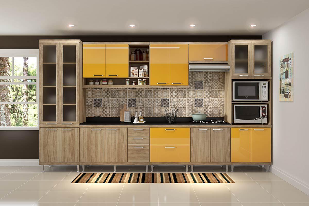 Cozinha Completa Multimóveis Sicília 5807 8 Peças (2 Paneleiros+3 Aéreos+3 Balcões)